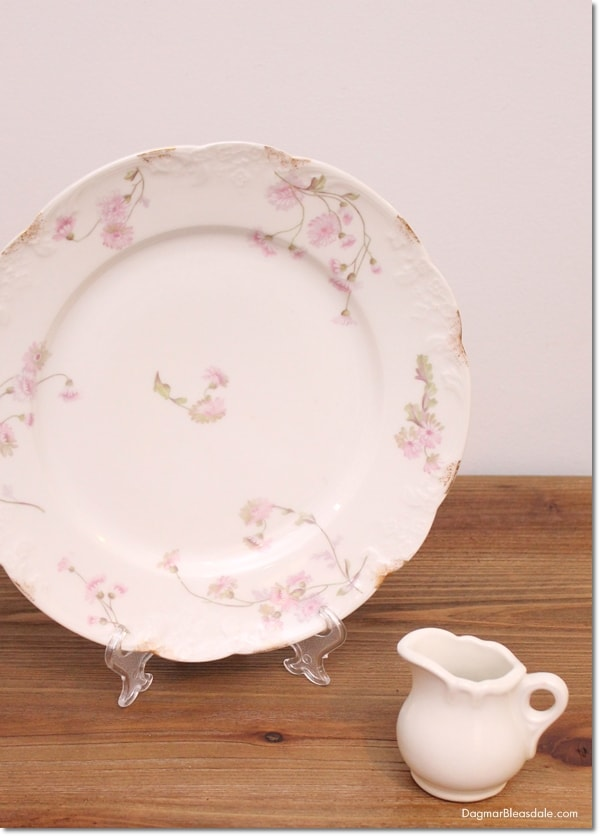 vintage plate with flowers