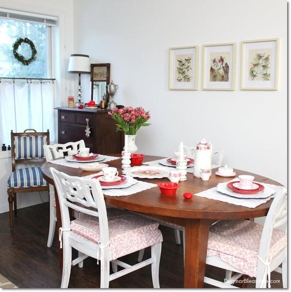 Valentine's Day Tablescape With Vintage Teacups, DagmarBleasdale.com