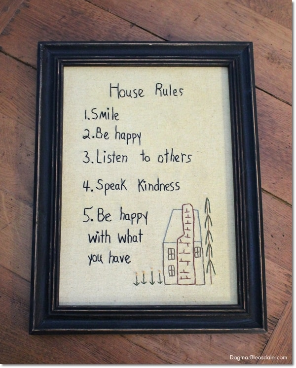house rules Primitive Stitchery Picture