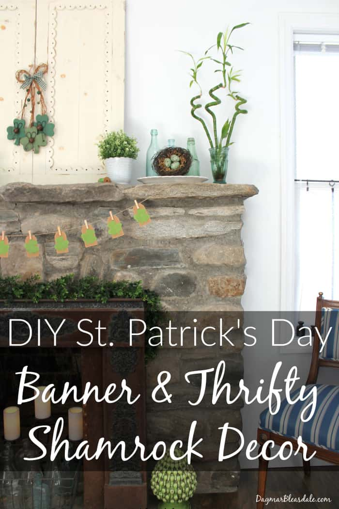 Diy st patrick 39 s day banner thrifty shamrock decorations for Thrifty decor
