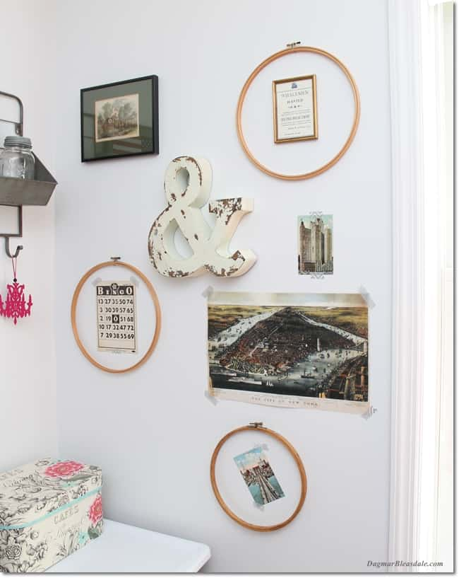 gallery wall with vintage embroidery hoops, DagmarBleasdale.com