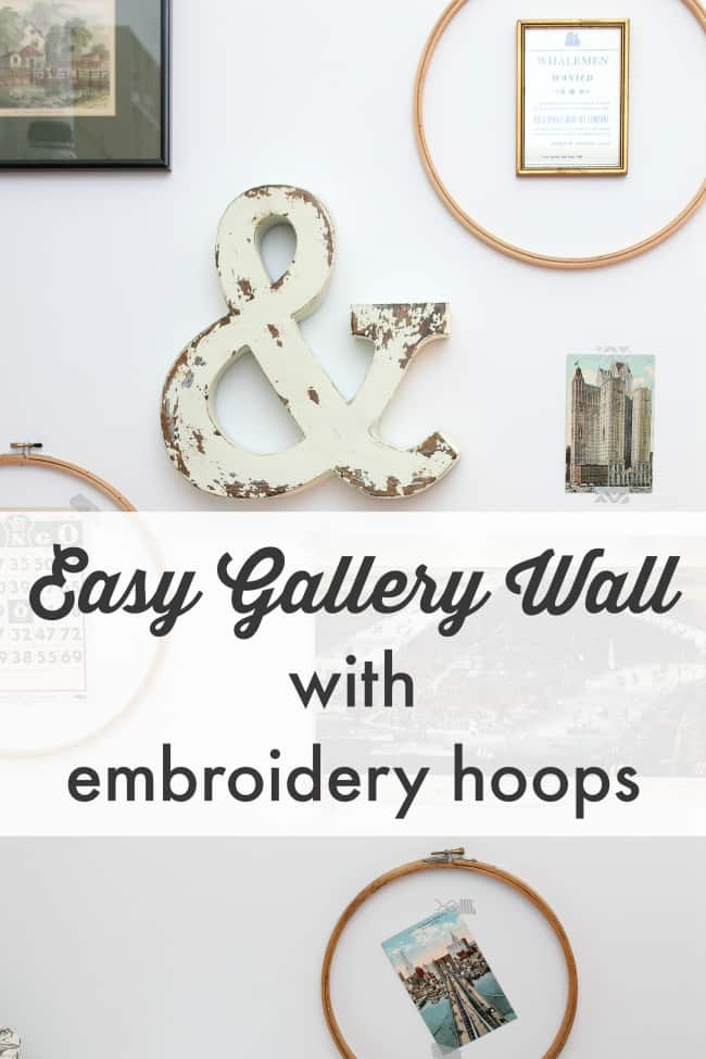 gallery wall with embroidery hoops, DagmarBleasdale.com