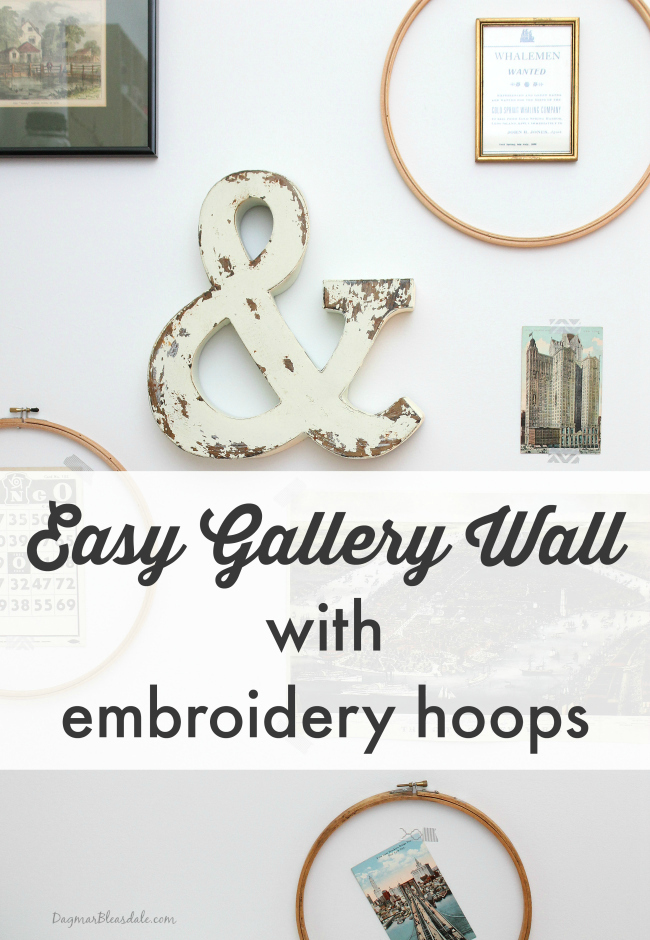 gallery wall with embroidery hoops, DagmarBleasale.com