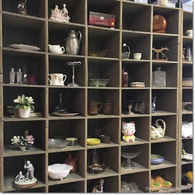 shelf full of vintage items