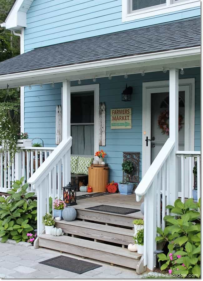 Blue Cottage porch with fall decor