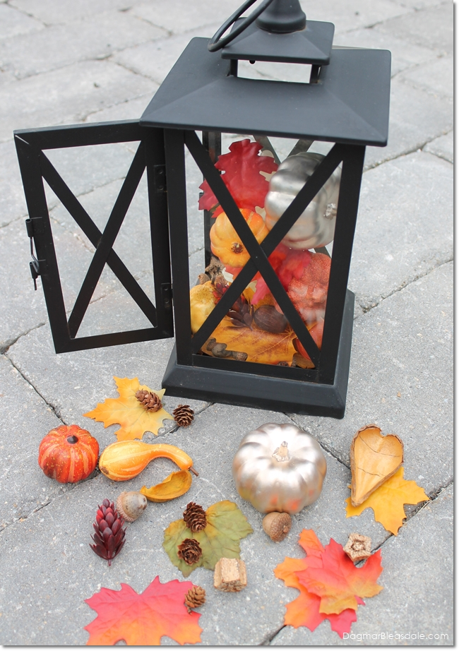 lantern with fall decor, DagmarBleasdale.com