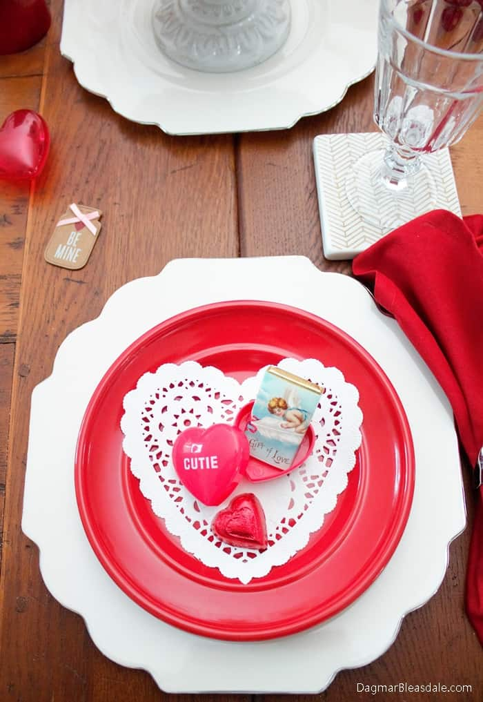 Valentine's Day Tablescape With Heart-Shaped Doilies, DagmarBleasdale.com