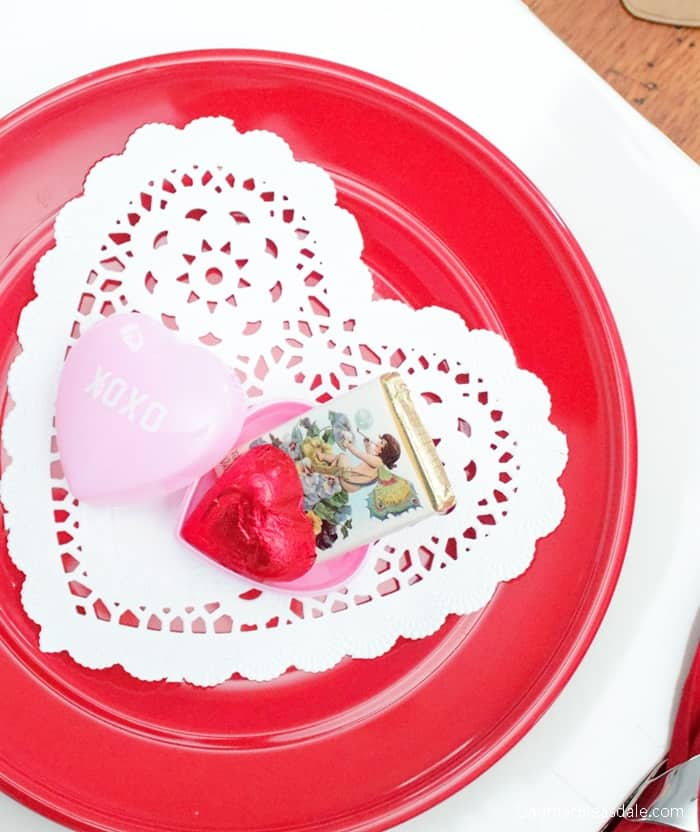Valentine's Day Tablescape With Heart-Shaped Doilies