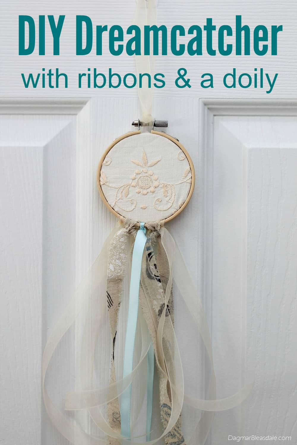 DIY dreamcatcher with ribbon and doily, DagmarBleasdale.com