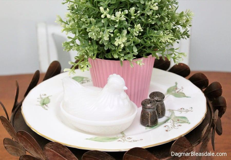 milk glass chicken, DagmarBleasdale.com