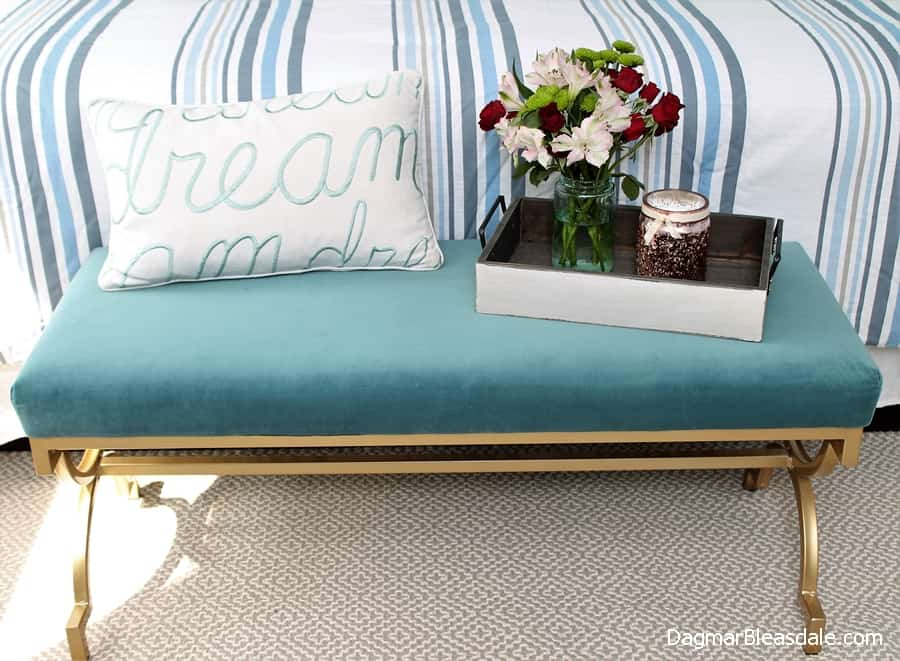 bedroom bench golden legs, DagmarBleasdale.com