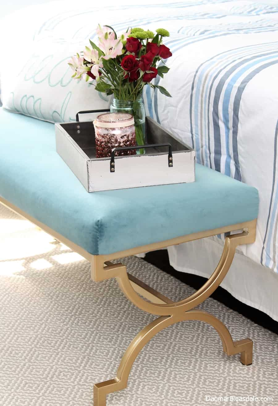 bedroom bench with gold legs, DagmarBleasdale.com