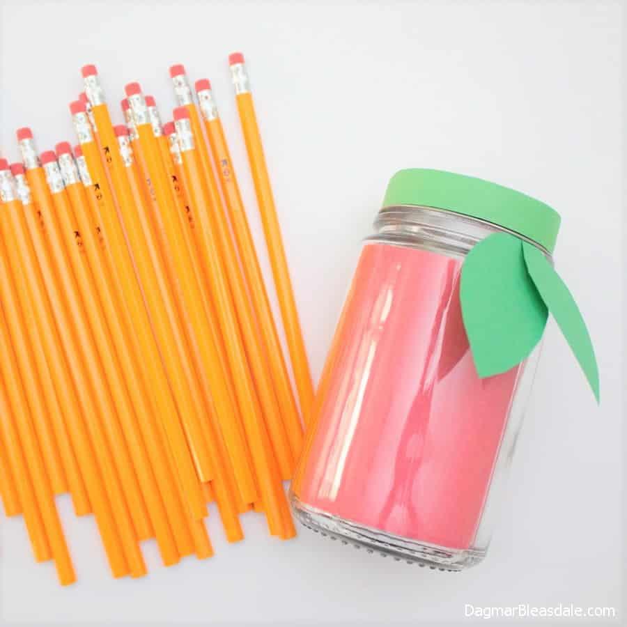 Back to School Gift for Teachers, apple mason jar with pencils, DagmarBleasdale.com