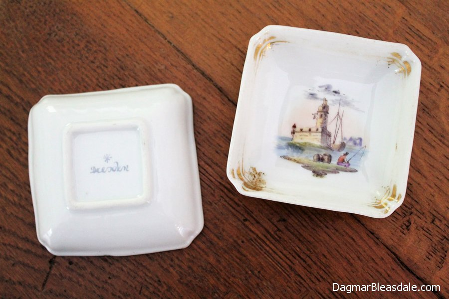 Vintage square Dresden dishes