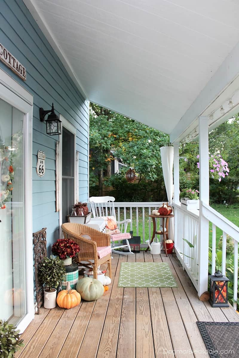 Blue Cottage porch decorated for fall 2017
