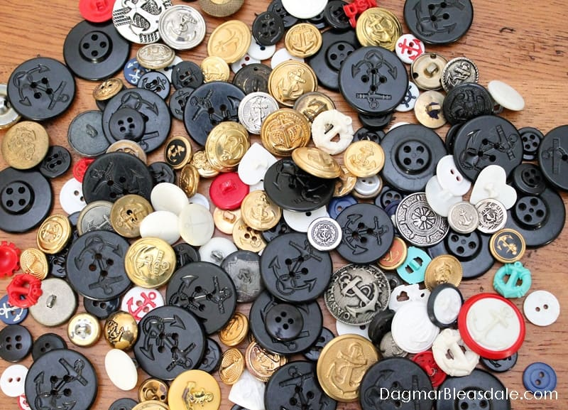 Vintage buttons with anchors, DagmarBleasdale.com