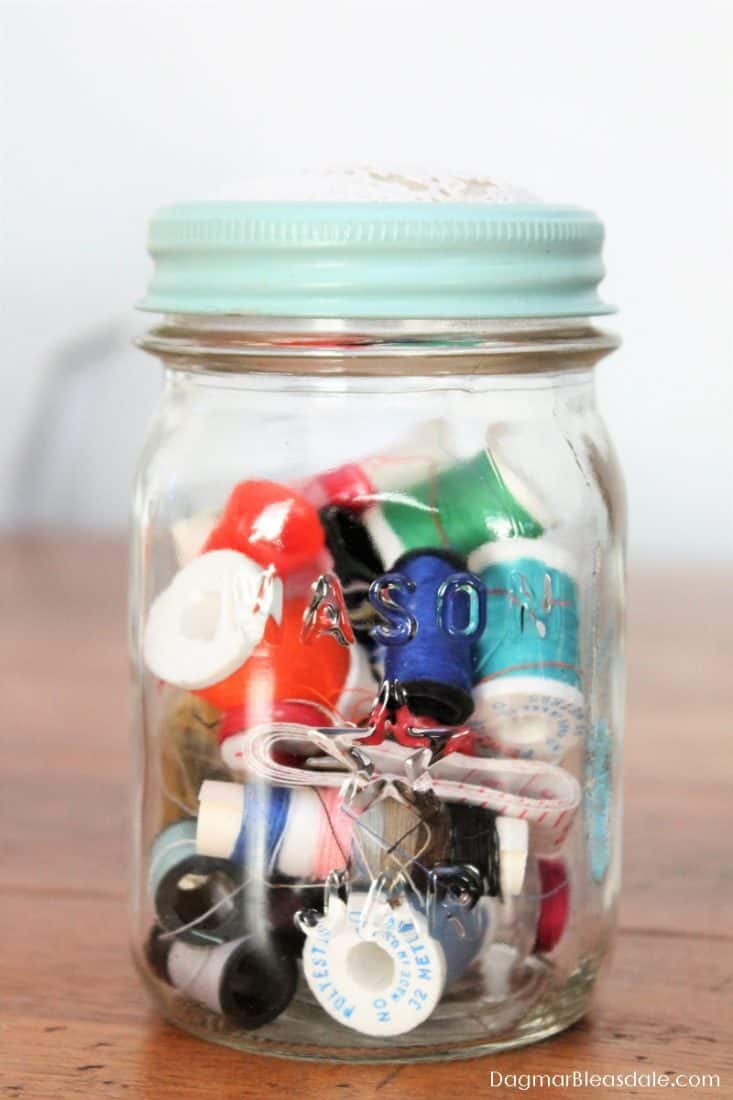 Mason jar with sewing supplies, DagmarBleasdale.com
