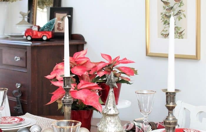 Red and Metallic Tablescape With Boscov's Holiday Decor