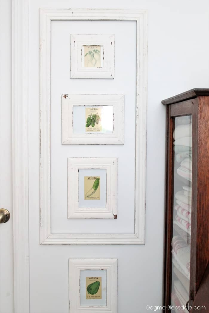 Vintage seed packets in shabby chic frames