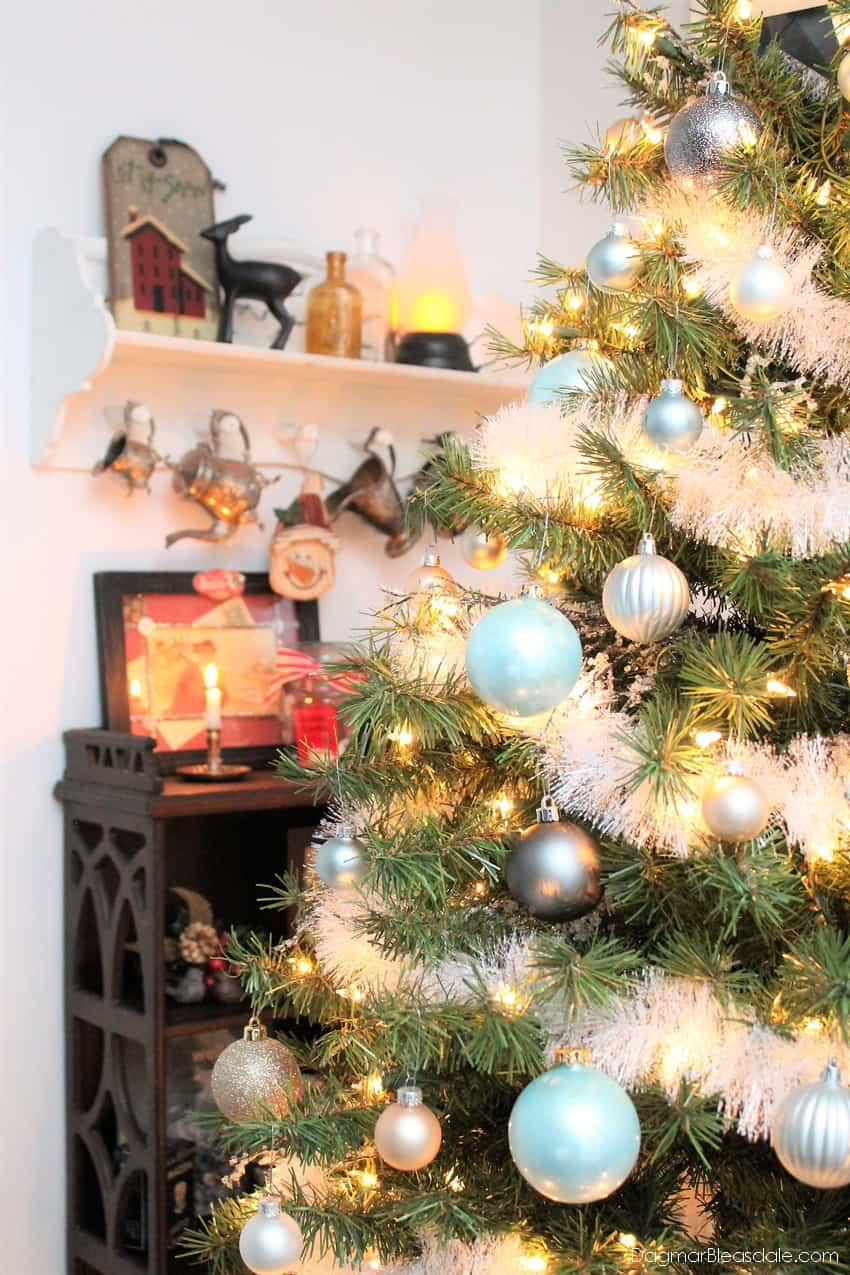 Bottle Brush Tree Tablescape & Blue Cottage Christmas Home Tour