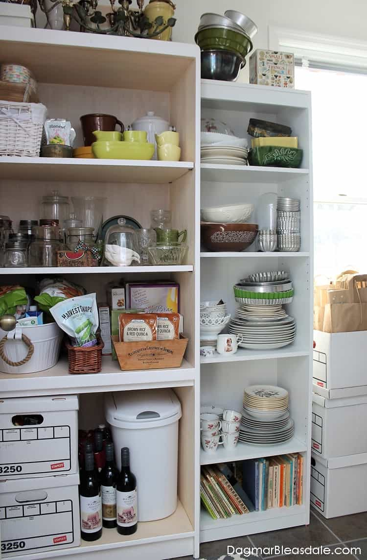 White bookcase storage in pantry, DagmarBleasdale.com